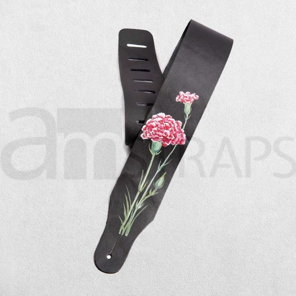 Handpainted Flower (C) Black Leather Guitar Strap ...