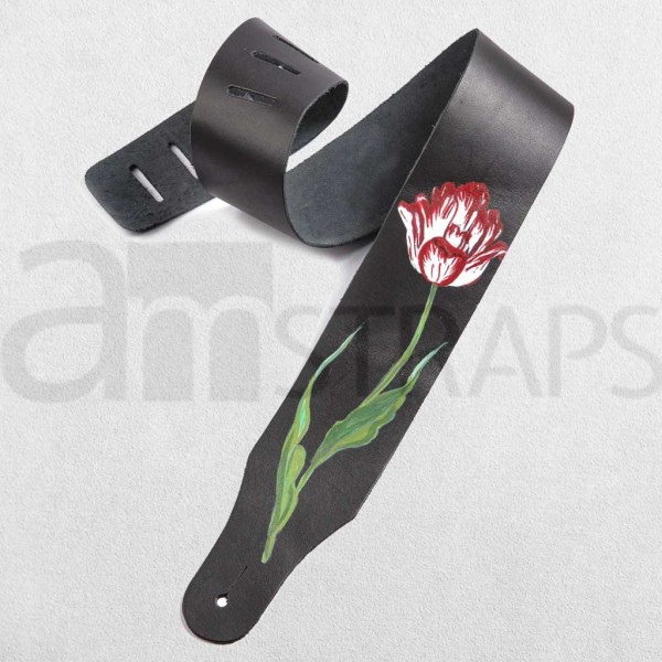 Handpainted Flower Black Leather Strap (D) (63mm)