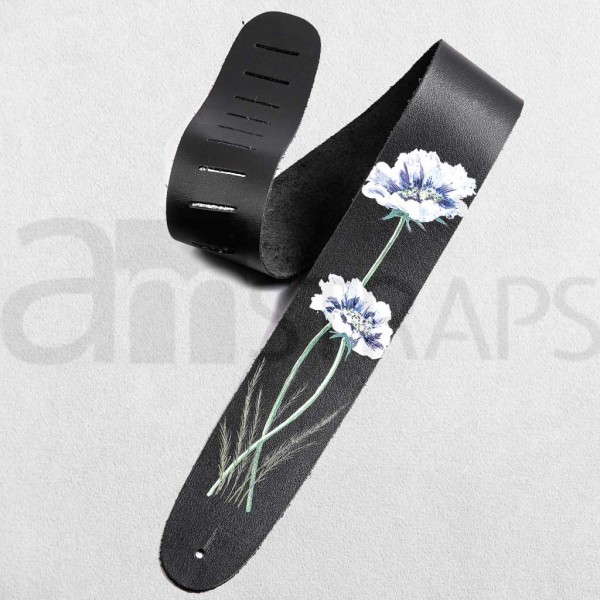 Handpainted Flower (E) Black Leather Guitar Strap ...