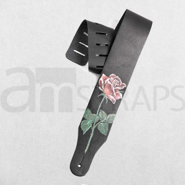 Handpainted Flower (G) Black Leather Guitar Strap ...