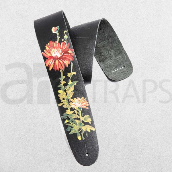 Handpainted Flower (I) Black Leather Guitar Strap ...