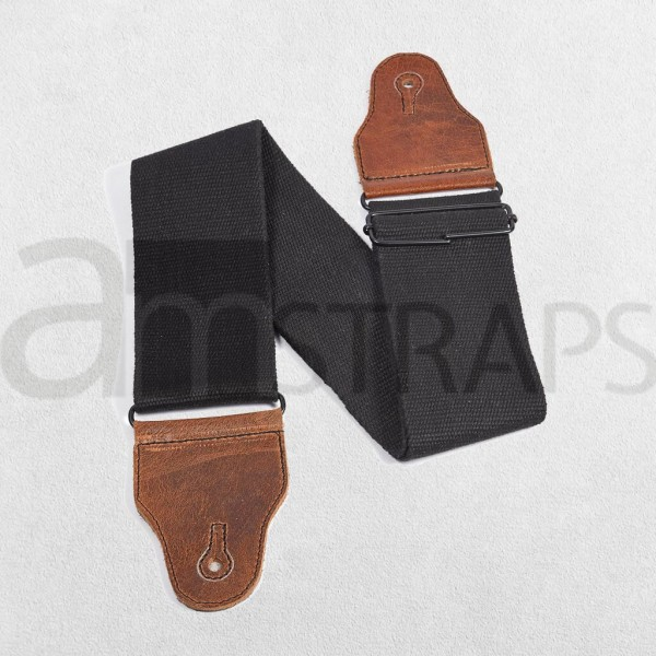 "3"" Cotton Guitar Strap Black (75mm)"