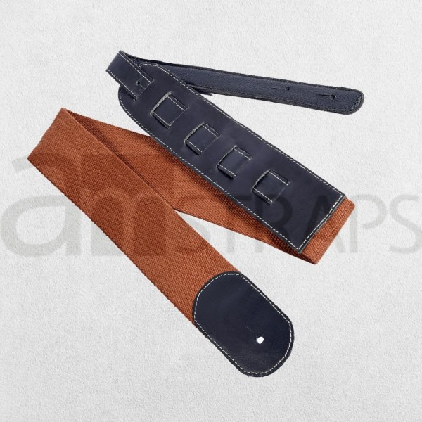 "2.4"" Cotton N Leather Guitar Strap Brown (60m..."