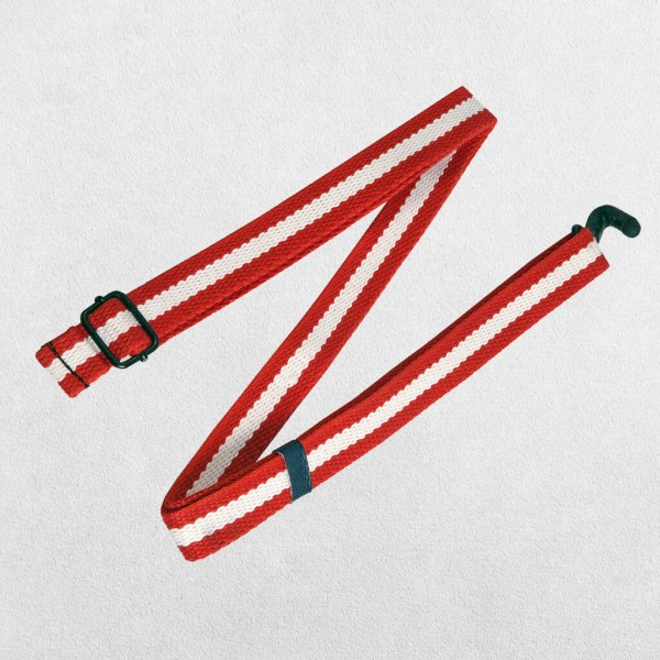 """1"""" Woven Cotton Ukulele Strap Red and White (..."""
