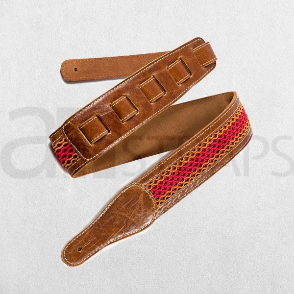 "2.28"" Fabric N Leather Guitar Strap (58mm) Se..."