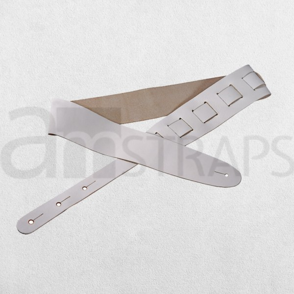 White Leather Guitar Strap (63mm)