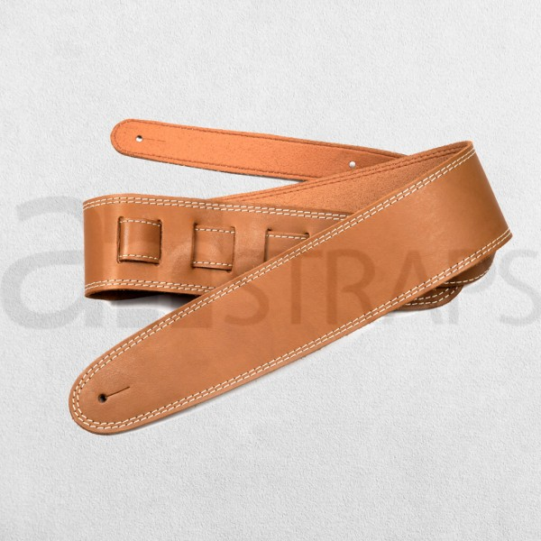 Tan Leather Guitar Strap N Lining (63mm)